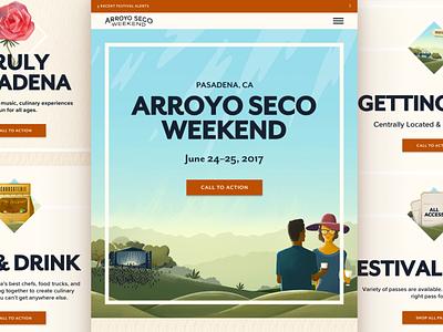 Arroyo Seco Festival design ux ui mobile ui illustration festival concert landing page event responsive web design web ipad mobile