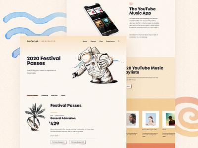 Coachella Website 2020 illustration ecommerce event page concert coachella festival ux ui landing page layout website web
