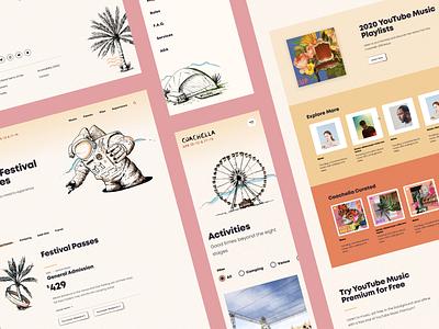 Coachella Website Screens filter ecommerce footer spot illustrations design ux ui illustration layout music menu responsive mobile website web