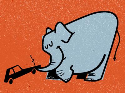Elephant Towing illustration logo cartoon retro towing car elephant