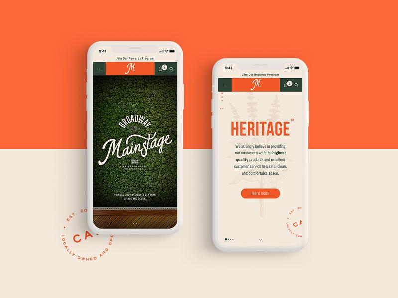 Mainstage Dispensary - Mobile Website Design Concept 🌱 dispensary mockup design mobile design typogaphy ui web graphic desgin web design design creative branding