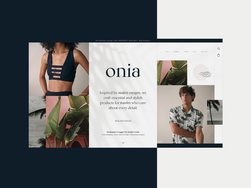 Onia - Homepage Website Design Concept 🌴 bathing suit fashion onia clothing brand product design typogaphy ui web graphic desgin web design design creative branding