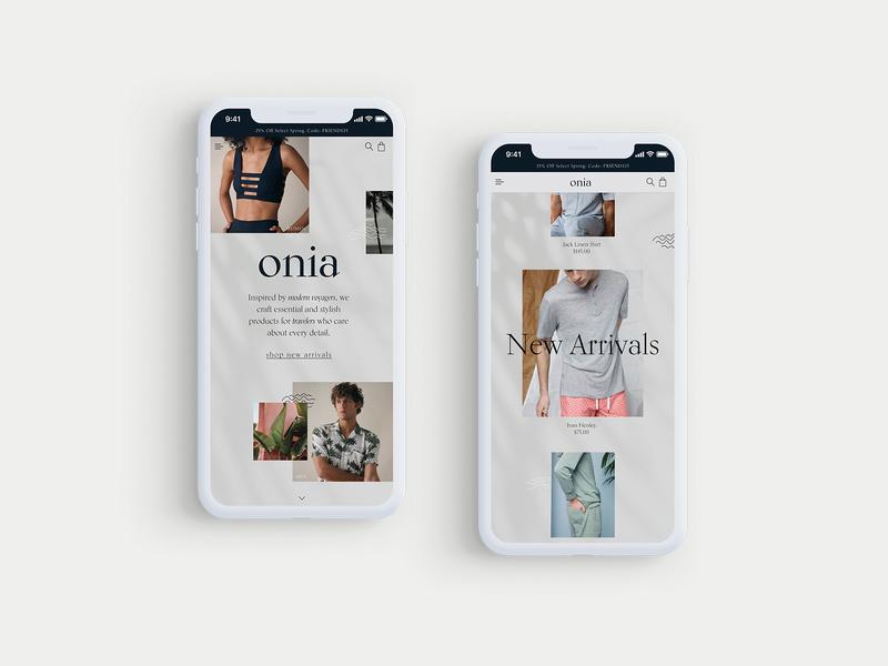 Onia - Mobile Website Design Concept 🌴 mobile design mockup mobile fashion clothing design product design typogaphy ui web graphic desgin web design design creative branding