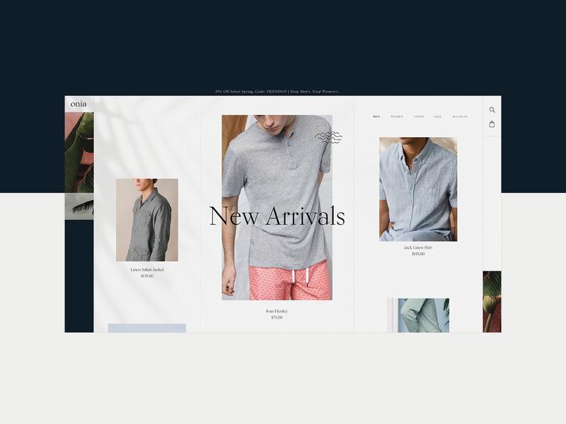 Onia - Men's Page Design Concept 🌴 fashion clothing brand mobile design mobile mockup design product design typogaphy ui web graphic desgin web design design creative branding