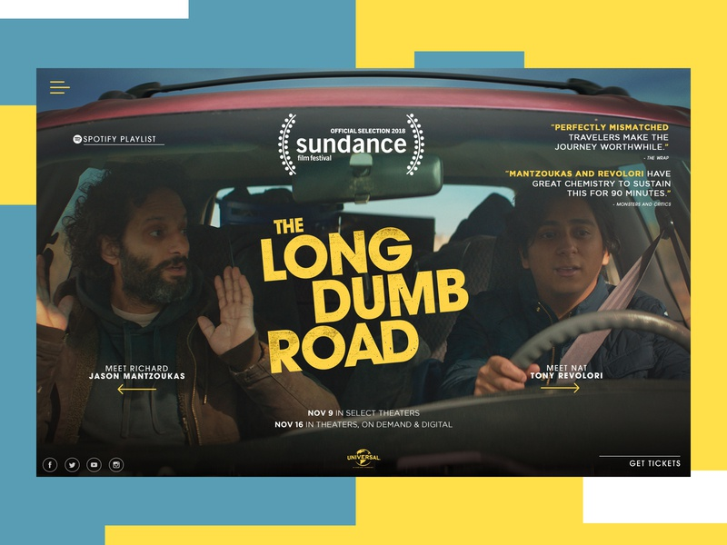 The Long Dumb Road Website Redesign movie entertainment ui typogaphy graphic desgin web design web design creative branding