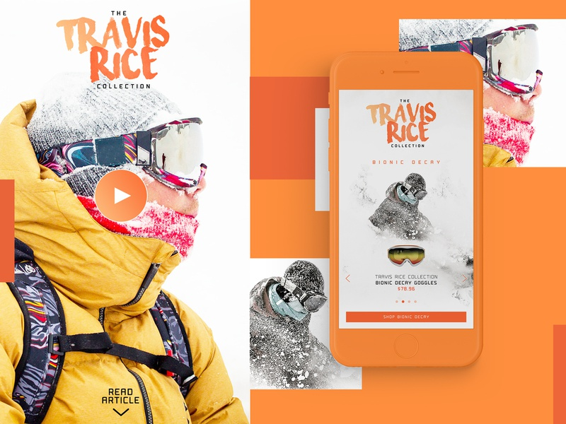 Travis Rice Collection Website Design snowboarding mobile design mockup design ui typogaphy graphic desgin web design web design creative branding