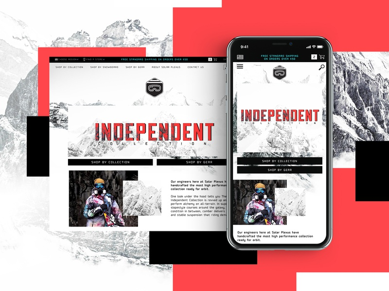 Independent Collection Website Design snowboarding mobile design mockup design ui typogaphy graphic desgin web design web design creative branding