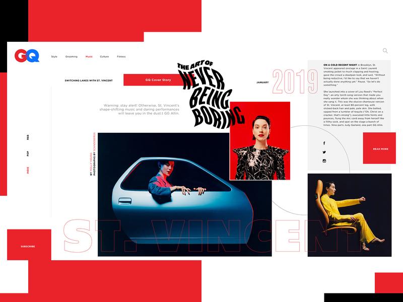 GQ Website Design Concept gq music editorial ui typogaphy web graphic desgin web design design creative branding