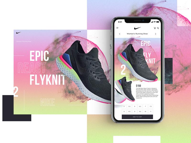 Nike Epic React Flyknit 2 Website Design Concept shoes product design nike mobile design mockup design ui typogaphy web graphic desgin web design design creative branding