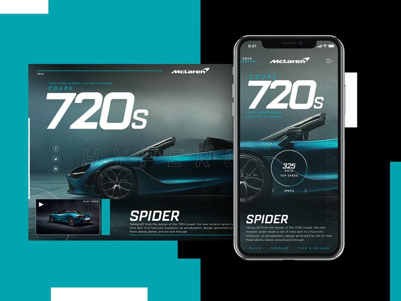 McLaren 720s Spider Website Design Concept car product design mobile design ui typogaphy web graphic desgin web design design creative branding