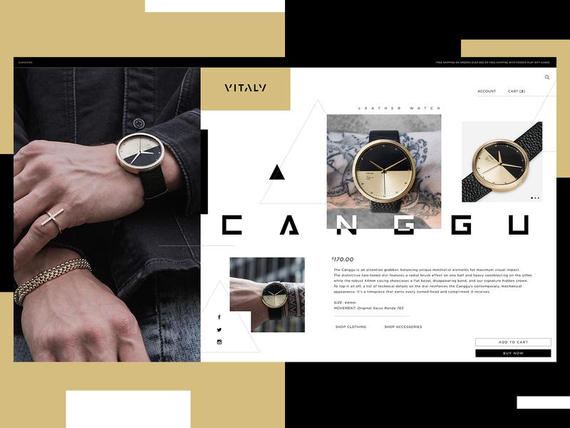 Vitaly Website Design Concept watch product design ui typogaphy web graphic desgin web design design creative branding