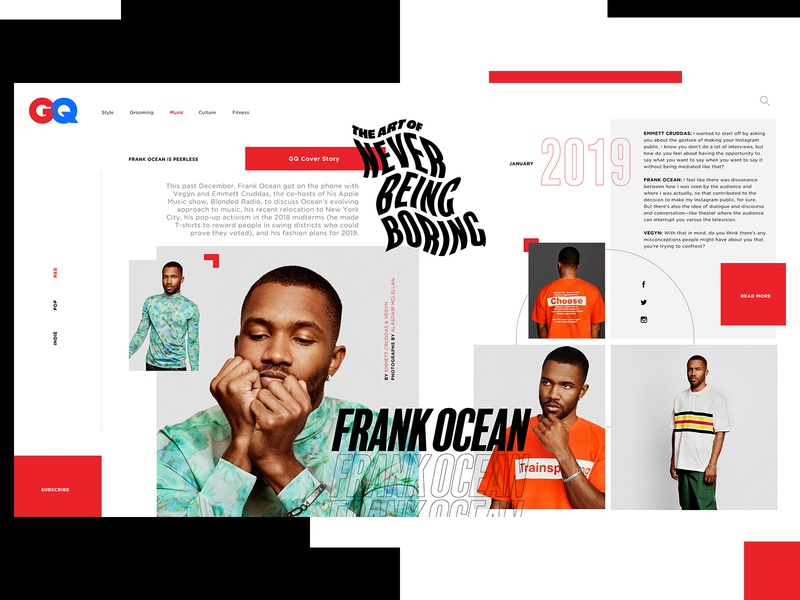 GQ Website Design Concept editorial gq ui typogaphy web graphic desgin web design design creative branding