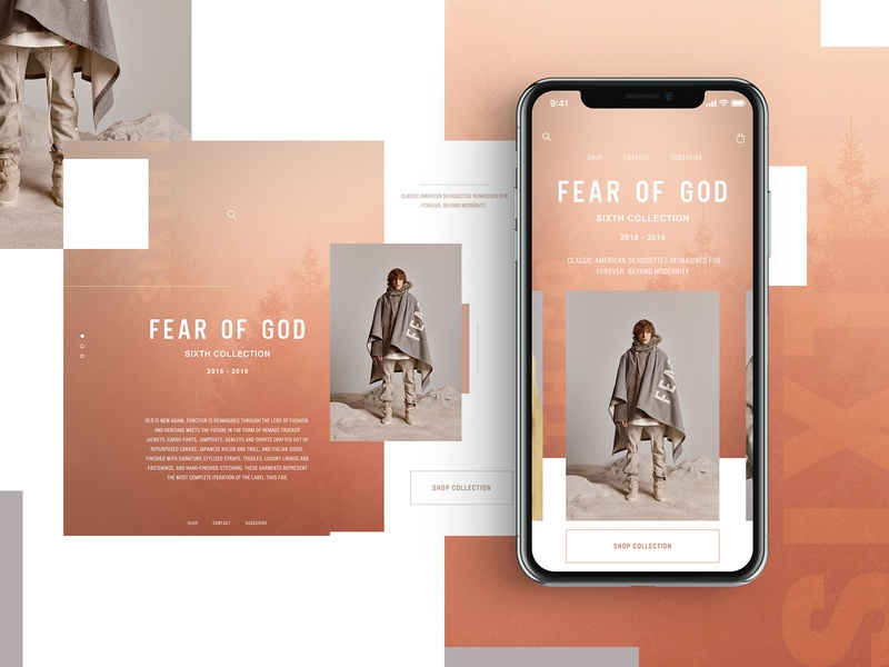 Fear Of God Sixth Collection Website Design Concept clothing design clothing brand mobile design product design mockup design ui typogaphy web graphic desgin web design design creative branding