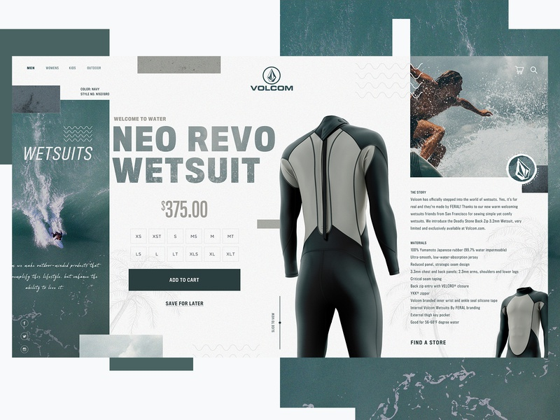 Volcom Surf Website Design Concept volcom surf product design ui typogaphy web graphic desgin web design design creative branding