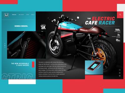 Honda Denzel Electric Cafe Racer Website Design Concept