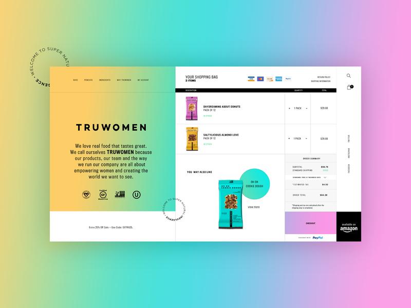 Truwomen - Shopping Cart Design Concept 🍪 cart product product design typogaphy ui web graphic desgin web design design creative branding