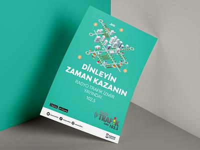 Radyo Trafik İzmir Poster typography design illistration minimal mockup poster rightpage erdemozkan saranholding radyotrafik