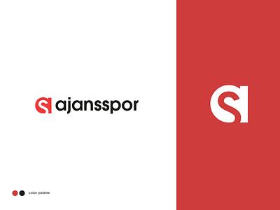 Ajansspor Logo app design clean rightpage erdem ozkan news logo sports logo minimal minimalist logo saran holdin ajansspor logo design logotype logo
