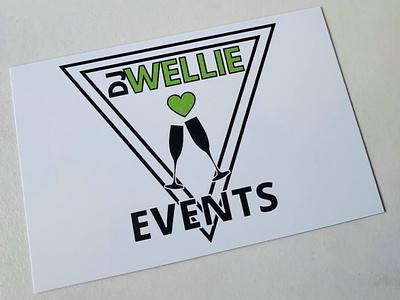 DJ Wellie Events logo Business Card design vector icon app business card branding logo graphic design