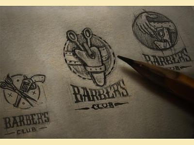 barber's sketch wildwest barber handdrawn logo sketch