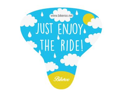 Bike cover design label for rainy days label design bike saddle design vector illustration product design adobe illustration