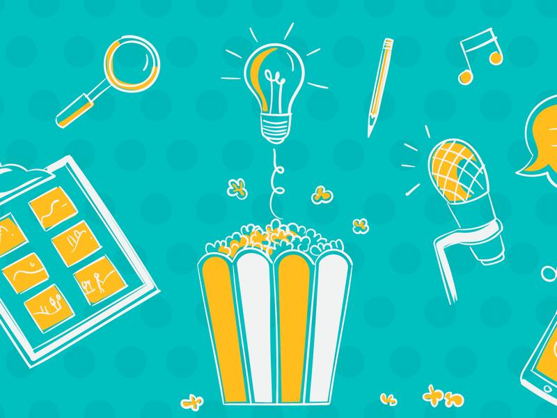 Making a video animation ideea creative process vector illustration