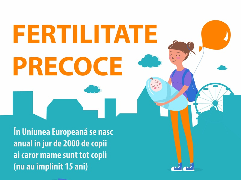 Infographic about early fertility in Romania vector illustration infographic design