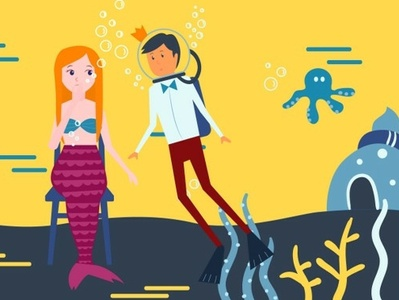 Little mermaid | animation scene 2d animation booking app explainer video video animation the prince charming little mermaid vector illustration