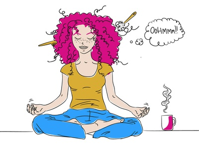 Some mornings ... lugera morning coffee yoga woman character illustration for animation illustration
