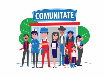 Comunity marketing campaign key visual ngo roma comunity 2d illustration vector illustration