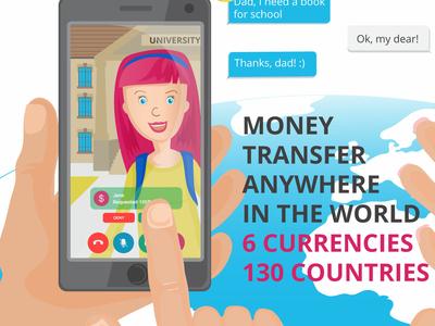 Animation scene 1 girl money app money transfer 2d illustration video animation adobe illustration vector illustration