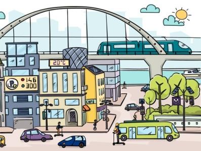 Smart city video marketing 2d illustration insurance company smart city illustration video animation