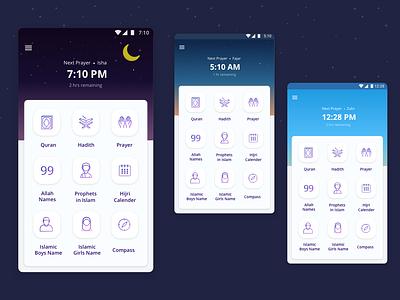 Muslim App ui concept homescreen islamic muslim illustration android app