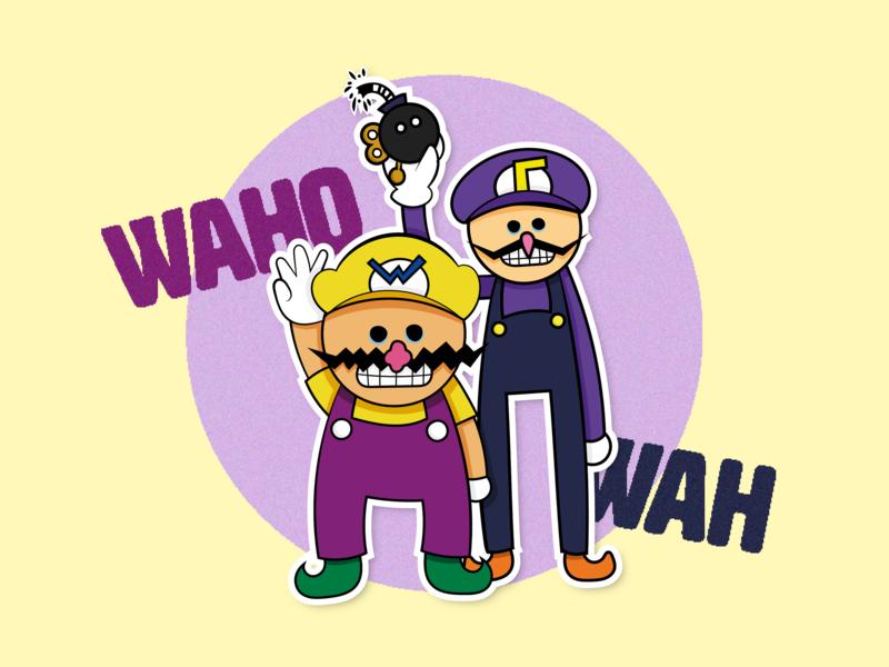 Wa-ha-hah! It's Wario & Waluigi! game character video game mario world wah waho yellow purple bobomb wacom illustrator illustration super mario mario waluigi wario