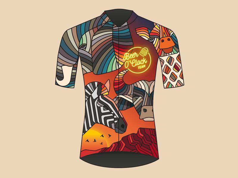 Beer O' Clock Cycling Kit cycling kit illustration jersey mockup jersey design cycling jersey cycling