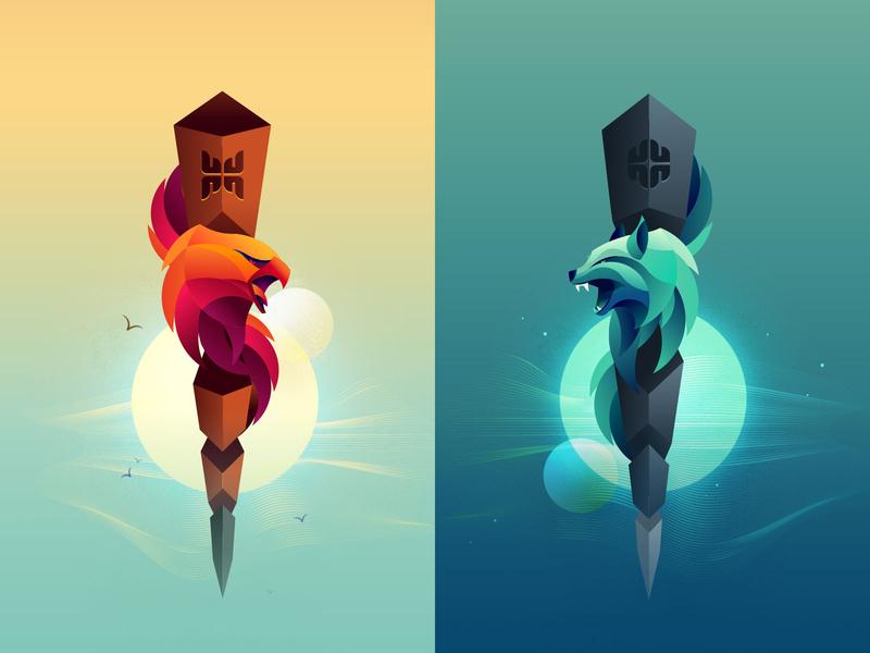 Totem poles artwork for Toteemi game design game design illustration totem pole totem game