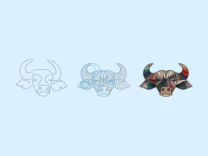 Buffalo process africa animal illustration design