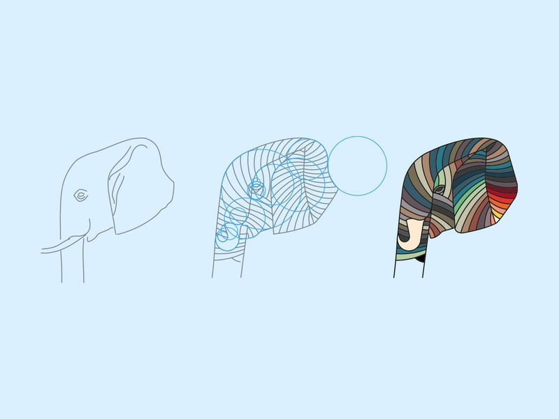 Elephant process elephant animal illustration design