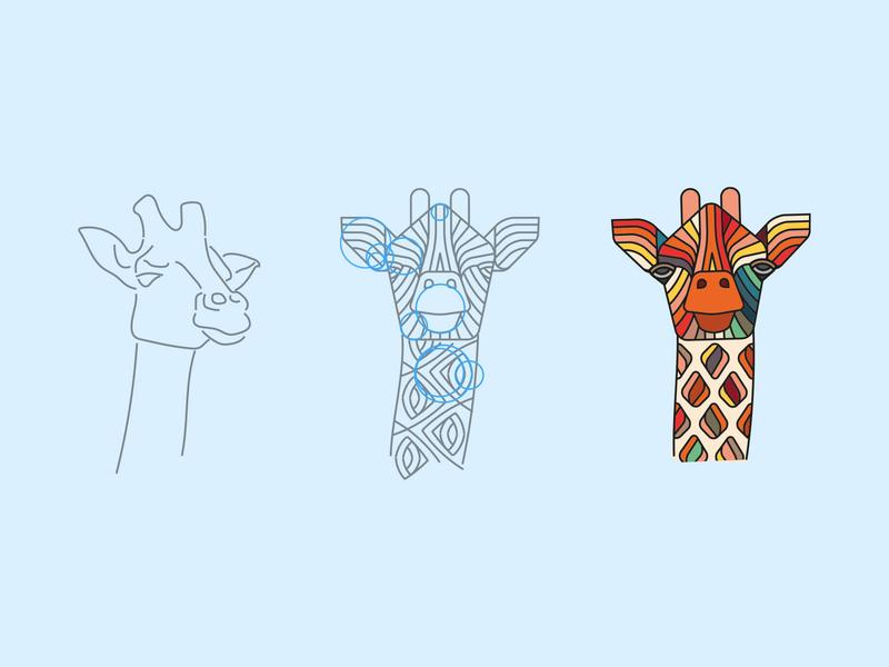 Giraffe process giraffe animal illustration design