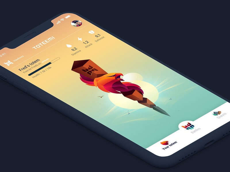 Toteemi app: Hawkee home bird hawk athlete running cycling sport app game totem pole totem animal illustration design interface ui mobile