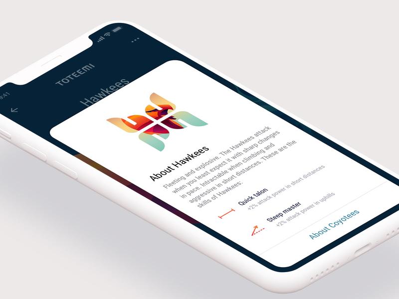 Toteemi App: Hawkee educational bottom sheet ux totem sport hawk app animal design interface ui game mobile