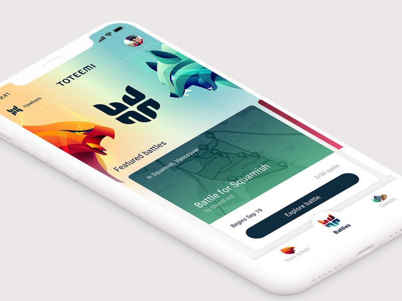 Toteemi App: Battles Index ux identity animal illustration design battle interface ui game mobile app