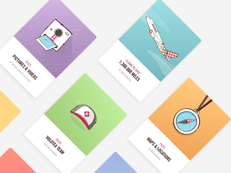 Volotea Intranet illustrations - v1 ui intranet compass cap polaroid camera airplane airline interface card identity branding illustration design