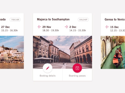 Volotea Airline: Upcoming Trip cards ui design interface app mobile travel booking destination card airline flight trip