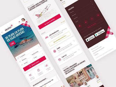 Volotea: Mobile homepage ux app branding flights airline design web responsive interface ui mobile