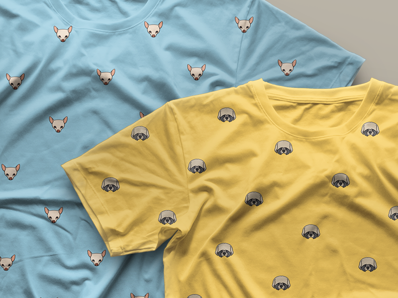 Dogcon Tees tees t-shirt dog icon illustration pattern yellow blue chihuahua shih-tzu