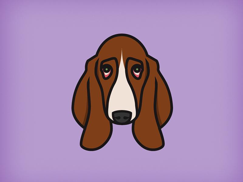 Basset Hound dog icon illustration basset hound purple brown