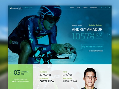 Movistar Cycling Team Website Concept website interface ui cycling blue green ux web design concept sport site