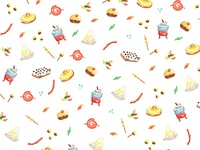 Candies & sweets pattern with watercolor