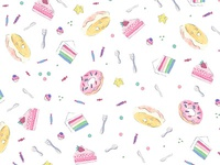 Rainbow sweets pattern with watercolor